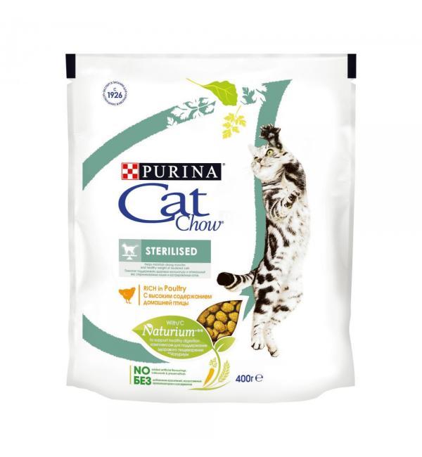 Сухой корм Cat Chow Cat Chow для взрослых стерилизованных кошек и кастрированных котов (0,4 кг)