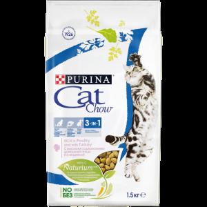Сухой корм Cat Chow Cat Chow для взрослых кошек 3 в 1 (1,5 кг)
