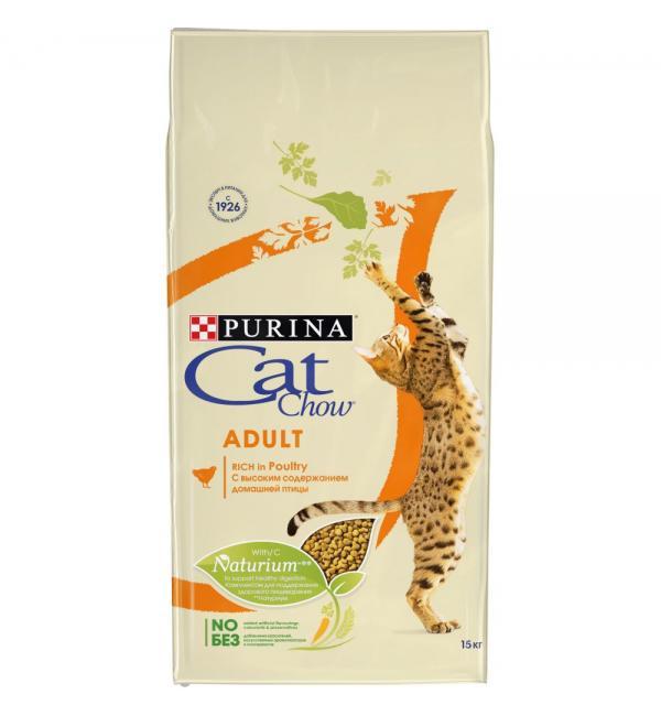 Сухой корм Cat Chow Cat Chow для взрослых кошек, с высоким содержанием домашней птицы (15 кг)