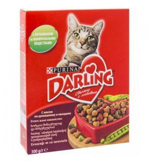 Сухой корм Darling для взрослых кошек, с мясом по-домашнему и овощами (0,3 кг)