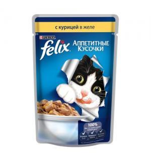 Влажный корм FELIX Аппетитные кусочки для взрослых кошек, с курицей в желе (0,085 кг)