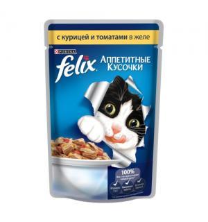 Влажный корм FELIX Аппетитные кусочки для взрослых кошек, с курицей и томатами в желе (0,085 кг)