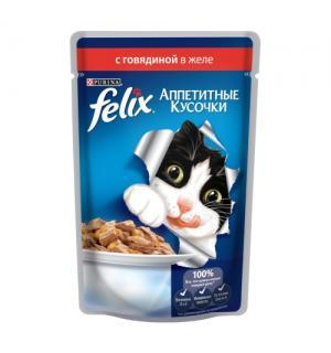 Влажный корм FELIX Аппетитные кусочки для взрослых кошек, с говядиной в желе (0,085 кг)