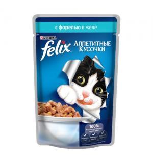 Влажный корм FELIX Аппетитные кусочки для взрослых кошек, с форелью в желе (0,085 кг)
