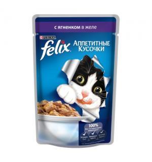 Влажный корм FELIX Аппетитные кусочки для взрослых кошек, с ягненком в желе (0,085 кг)