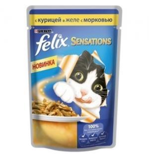 Влажный корм FELIX SENSATIONS для взрослых кошек, с курицей в желе и морковью  (0,085 кг)