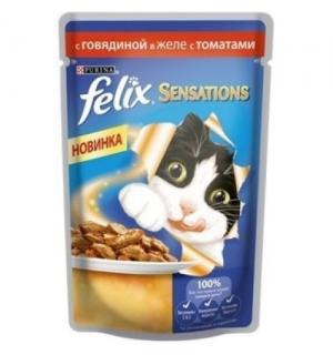 Влажный корм FELIX SENSATIONS для взрослых кошек, с лососем в желе с добавлением трески (0,085 кг)