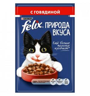 Влажный корм FELIX для взрослых кошек, с говядиной в соусе (0,085 кг)
