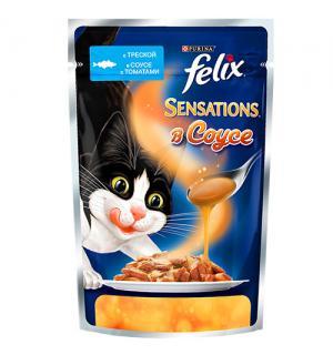 Влажный корм FELIX SENSATIONS для взрослых кошек, с треской в соусе с томатами (0,085 кг)