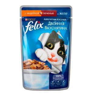 Влажный корм FELIX Аппетитные кусочки Двойная вкуснятина для взрослых кошек, с индейкой и печенью в желе (0,085 кг)