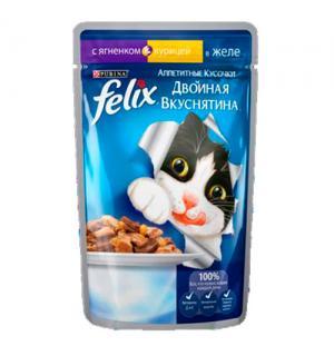 Влажный корм FELIX Аппетитные кусочки Двойная вкуснятина для взрослых кошек, с ягненком и курицей в желе (0,085 кг)