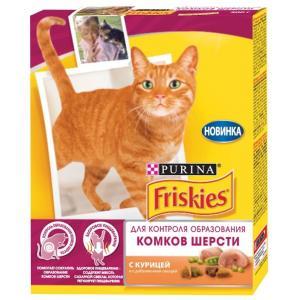 Сухой корм Friskies для взрослых кошек, с курицей и добавлением овощей для контроля образования комков шерсти (0,3 кг)