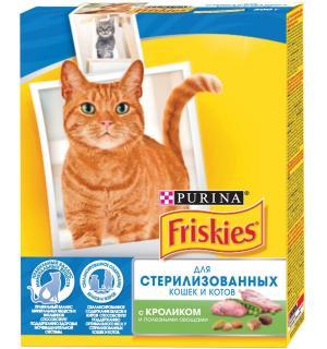 Сухой корм Friskies для стерилизованных кошек и котов, с кроликом и полезными овощами (0,3 кг)