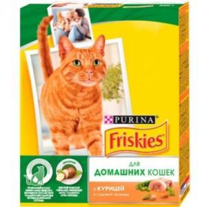 Сухой корм Friskies для домашних кошек, с курицей и садовой зеленью (0,3 кг)