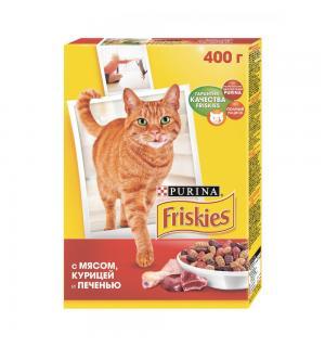 Сухой корм Friskies для взрослых кошек, с мясом, курицей и печенью (0,4 кг)