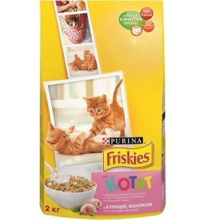 Сухой корм Friskies для котят до 12 месяцев, с курицей, молоком и полезными овощами (2 кг)