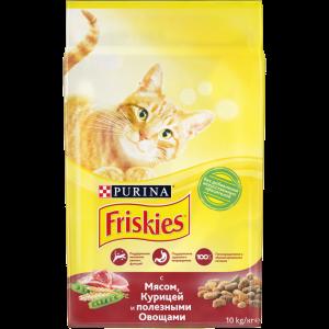 Сухой корм Friskies для взрослых кошек, с мясом, курицей и полезными овощами (10 кг)