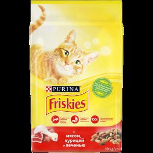 Сухой корм Friskies для взрослых кошек, мясное ассорти с мясом, курицей и печенью (10 кг)