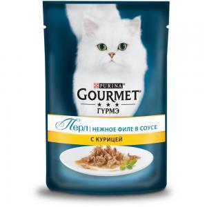 Влажный корм GOURMET PERLE для кошек, с курицей в подливке (0,085 кг)