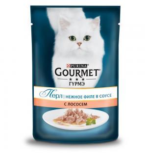 Влажный корм GOURMET PERLE для кошек, с лососем в подливке (0,085 кг)