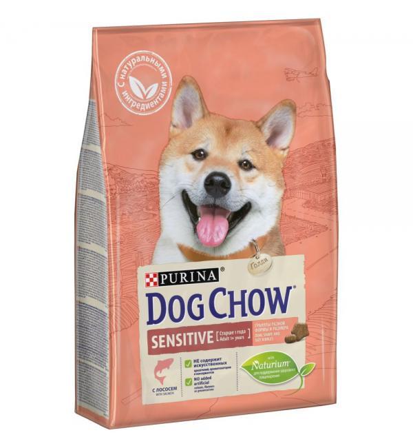 Сухой корм Dog Chow для взрослых собак с чувствительной кожей и чувствительным пищеварением, с лососем (2,5 кг)
