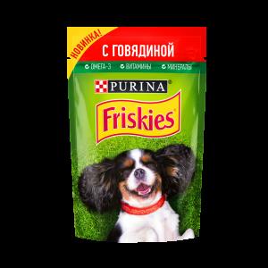Влажный корм Friskies для взрослых собак, кусочки говядины в подливе (0,085 кг)