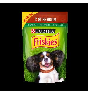 Влажный корм Friskies для взрослых собак, кусочки с ягненком в подливе (0,085 кг)