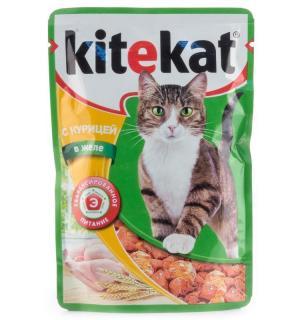 Влажный корм Kitekat для взрослых кошек, с курицей в желе (0,085 кг)