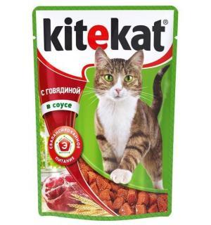 Влажный корм Kitekat для взрослых кошек, с говядиной в соусе (0,085 кг)