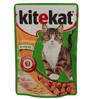 Влажный корм Kitekat для взрослых кошек, с курицей в соусе (0,085 кг)
