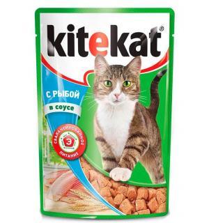 Влажный корм Kitekat для взрослых кошек, с рыбой в соусе (0,085 кг)
