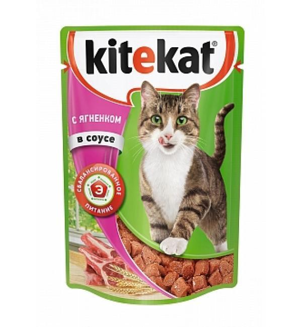 Влажный корм Kitekat для взрослых кошек, с ягненком в соусе (0,085 кг)