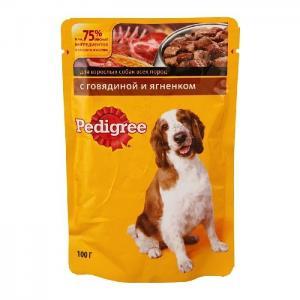 Влажный корм Pedigree для взрослых собак всех пород, с говядиной и ягненком в соусе (0,1 кг)