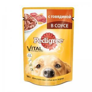 Влажный корм Pedigree для взрослых собак всех пород, с говядиной в соусе (0,1 кг)