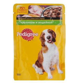 Влажный корм Pedigree для взрослых собак всех пород, с кроликом и индейкой в соусе (0,1 кг)
