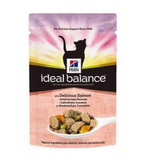 Влажный корм Hill's Ideal Balance для взрослых кошек, лосось и овощи (0,085 кг)