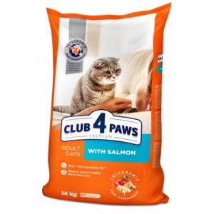 Сухой корм Club 4 Paws Премиум для взрослых кошек, с лососем (14 кг)