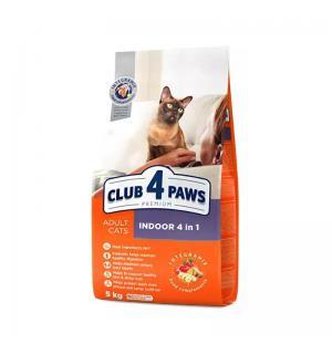 Сухой корм Club 4 Paws Премиум для взрослых кошек, живущих в помещении 4в1 (14 кг)