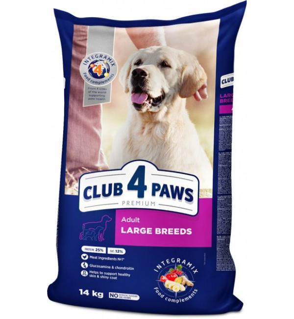 Сухой корм Club 4 Paws Премиум для взрослых собак крупных пород (14 кг)