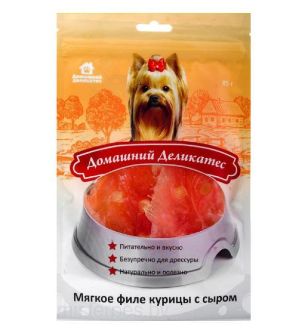 Лакомства Домашний деликатес Мягкое филе курицы с сыром (0,085 кг)