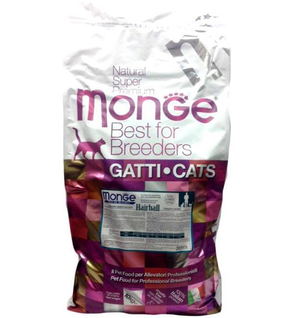 Сухой корм Monge Cat Hairball для кошек для выведения комков шерсти, с цыпленком (10 кг)