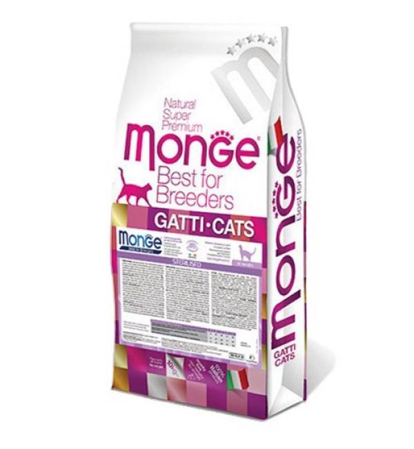 Сухой монопротеиновый корм Monge Cat для стерилизованных котов, с уткой (10 кг)