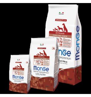 Сухой корм Monge Dog Puppy/Junior Lamb&Rice 30/18 для щенков всех пород, с ягненком и рисом (15 кг)