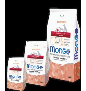 Сухой корм Monge Dog Mini Adult Salmon&Rice 26/14 для взрослых собак мелких пород, с лососем и рисом (15 кг)