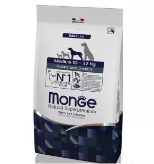 Сухой корм Monge Dog Medium Puppy/Junior 29/18 для щенков средних пород, с цыпленком (15 кг)