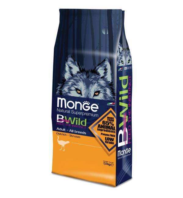 Сухой корм Monge Dog BWILD Ostrich для взрослых собак всех пород, с мясом страуса (7.5 кг)