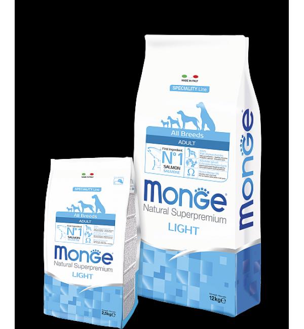 Сухой низкокалорийный корм Monge Dog SPECIALITY Light для взрослых собак с лососем и рисом (12 кг)