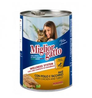 Консервы Miglior gatto Chicken/Turkey для кошек, кусочки с курицей и индейкой в соусе (0,405 кг)