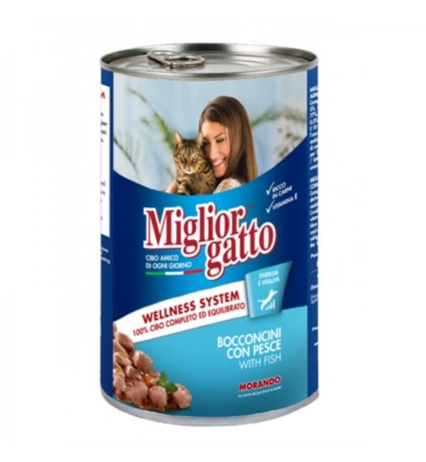 Консервы Miglior gatto Fish для кошек, кусочки с рыбой в соусе (0,405 кг)
