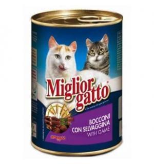 Консервы Miglior gatto Game для кошек, кусочки с дичью в соусе (0,405 кг)